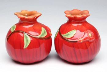 Pomegranate Porcelain Salt and Pepper Shakers, Set of 4