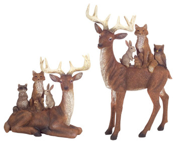 Deer with Woodland Friends Sculptures, Set of 2