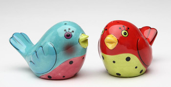 Red and Blue Love Birds Salt and Pepper Shakers by Babs, Set of 4
