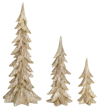 Gold Christmas Tree Sculptures, Set of 3