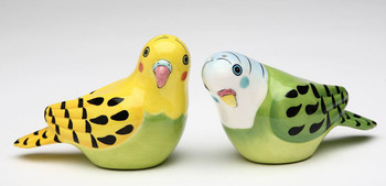 Yellow & Green Parakeet Bird Salt and Pepper Shakers by Babs, Set of 4
