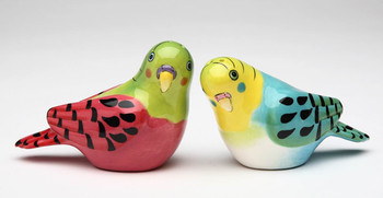 Pink and Blue Parakeet Bird Salt and Pepper Shakers by Babs, Set of 4