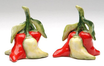 Chili Pepper Bunch Porcelain Salt and Pepper Shakers, Set of 4