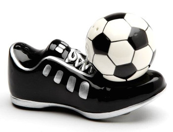 Soccer Shoes and Ball Porcelain Salt and Pepper Shakers, Set of 4