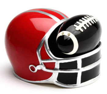 Football and Helmet Porcelain Salt and Pepper Shakers, Set of 4