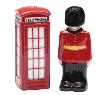 England Guardsman & Telephone Booth Salt and Pepper Shakers, Set of 4