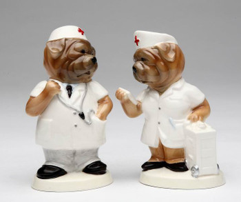 Two Hospital Dogs Ceramic Salt and Pepper Shakers, Set of 4