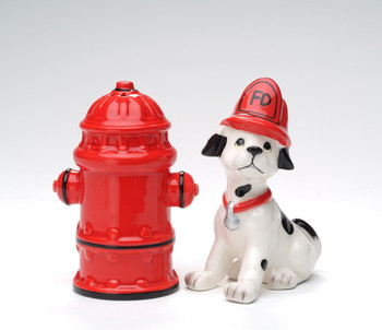 Dog and Fire Hydrant Ceramic Salt and Pepper Shakers, Set of 4
