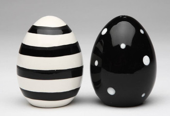 Black and White Eggs Ceramic Salt and Pepper Shakers, Set of 4