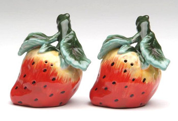Strawberry Porcelain Salt and Pepper Shakers, Set of 4