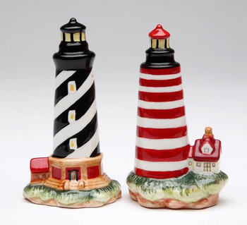 Black and Red Lighthouses Porcelain Salt and Pepper Shakers, Set of 4