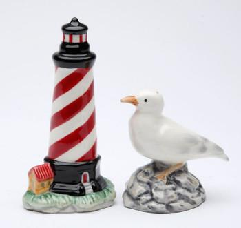 Lighthouse and Sea Gull Bird Porcelain Salt & Pepper Shakers, Set of 4