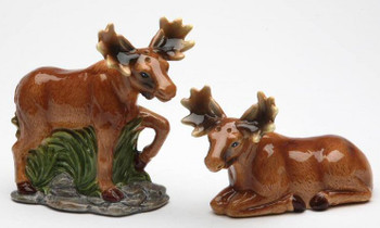 Moose Couple Porcelain Salt and Pepper Shakers, Set of 4