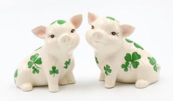 Shamrock Pigs Porcelain Salt and Pepper Shakers, Set of 4