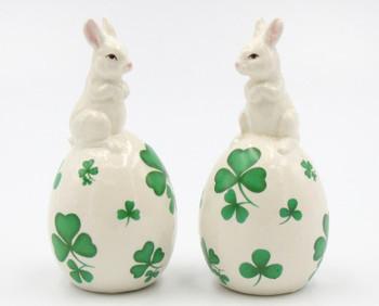 Shamrock Easter Bunny Porcelain Salt and Pepper Shakers, Set of 4