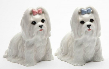Maltese Dogs Porcelain Salt and Pepper Shakers, Set of 4