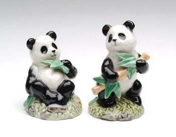 Panda Bears with Branches Ceramic Salt and Pepper Shakers, Set of 4