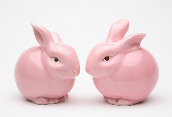 Pink Bunny Rabbits Ceramic Salt and Pepper Shakers, Set of 4