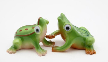 Two Crazy Frogs Ceramic Salt and Pepper Shakers, Set of 4