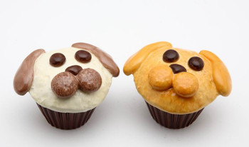 Two Dog Cupcakes Ceramic Salt and Pepper Shakers, Set of 4