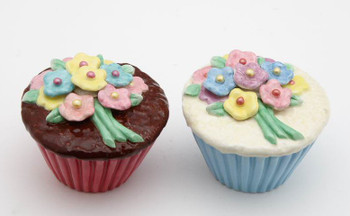 Cupcakes with Flowers Ceramic Salt and Pepper Shakers, Set of 4