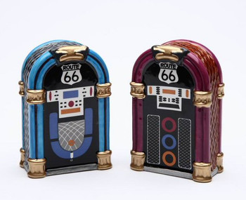 Route 66 Jukeboxes Ceramic Salt and Pepper Shakers, Set of 4