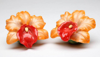 Orchid Flower Porcelain Salt and Pepper Shakers, Set of 4