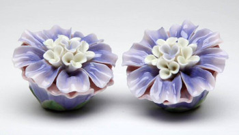 Dahlia Flower Porcelain Salt and Pepper Shakers, Set of 4