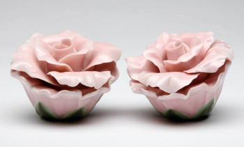 Pink Rose Porcelain Salt and Pepper Shakers, Set of 4