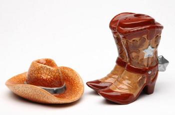 Cowboy Boots and Cowboy Hat Porcelain Salt & Pepper Shakers, Set of 4
