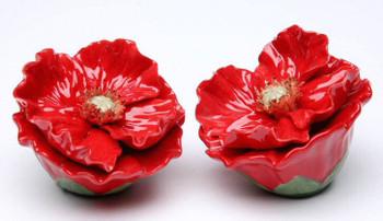 Poppy Flower Porcelain Salt and Pepper Shakers, Set of 4