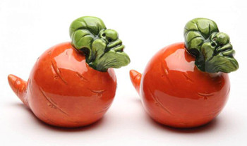 Carrot Porcelain Salt and Pepper Shakers, Set of 4