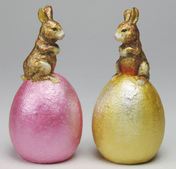 Easter Bunny Egg Chocolate Porcelain Salt and Pepper Shakers, Set of 4