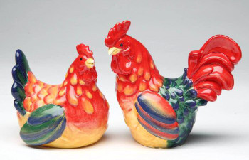 Rooster Couple Porcelain Salt and Pepper Shakers, Set of 4