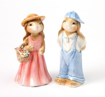 Two Bunny Rabbits Ceramic Salt and Pepper Shakers, Set of 4