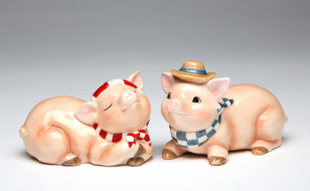 Two Country Pigs Ceramic Salt and Pepper Shakers, Set of 4