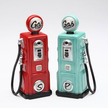 Two Gas Pumps Ceramic Salt and Pepper Shakers, Set of 4
