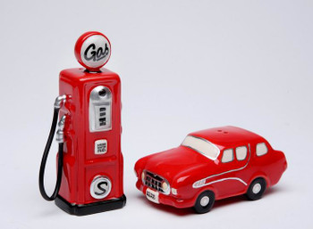 Red Car and Gas Pump Ceramic Salt and Pepper Shakers, Set of 4