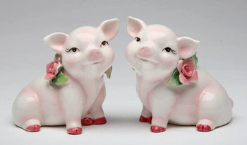 Piggy Pigs Porcelain Salt and Pepper Shakers, Set of 4