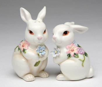 Sitting Bunny Rabbit Ceramic Salt and Pepper Shakers, Set of 4