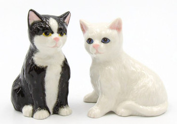 Sitting Cats Porcelain Salt and Pepper Shakers, Set of 4