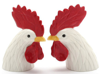Rooster Birds Ceramic Salt and Pepper Shakers, Set of 4