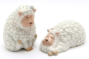 Lying Down and Standing Sheep Ceramic Salt & Pepper Shakers, Set of 4