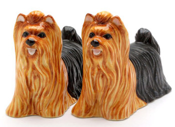 Yorkshire Terrier Dogs Ceramic Salt and Pepper Shakers, Set of 4