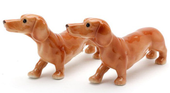 Dachshund Dogs Ceramic Salt and Pepper Shakers, Set of 4