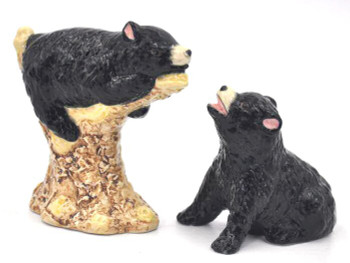 Black Bears Ceramic Salt and Pepper Shakers, Set of 4