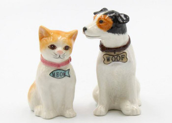 Woof Dog and Meow Cat Porcelain Salt and Pepper Shakers, Set of 4