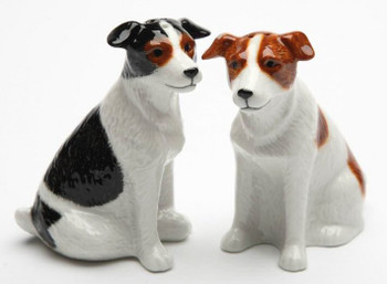 Jack Russell Terrier Dogs Porcelain Salt and Pepper Shakers, Set of 4