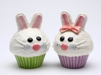 Bunny Rabbit Cupcakes Ceramic Salt and Pepper Shakers, Set of 4
