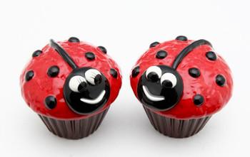 Ladybug Cupcakes Ceramic Salt and Pepper Shakers, Set of 4